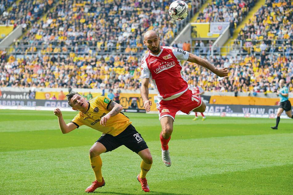 Akaki Gogia (r., gegen Baris Atik) bekam bei Union Berlin keinen neuen Vertrag. Kehrt Gogia jetzt zu Dynamo zurück?