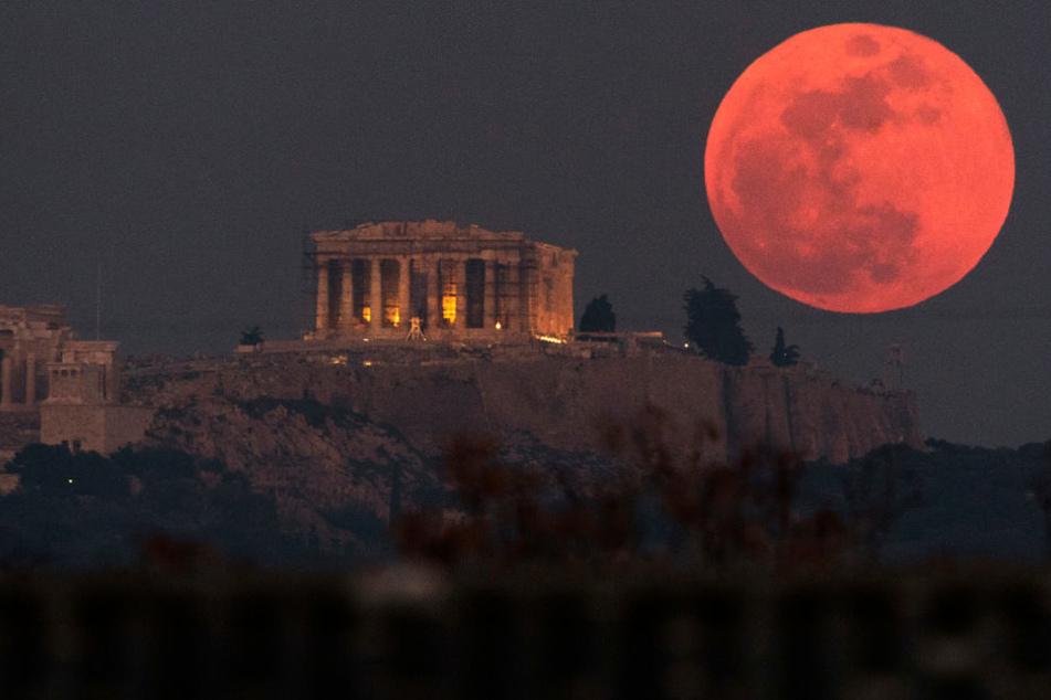Ob der Blutmond ähnlich spektakulär wird, wie hier in Griechenland?