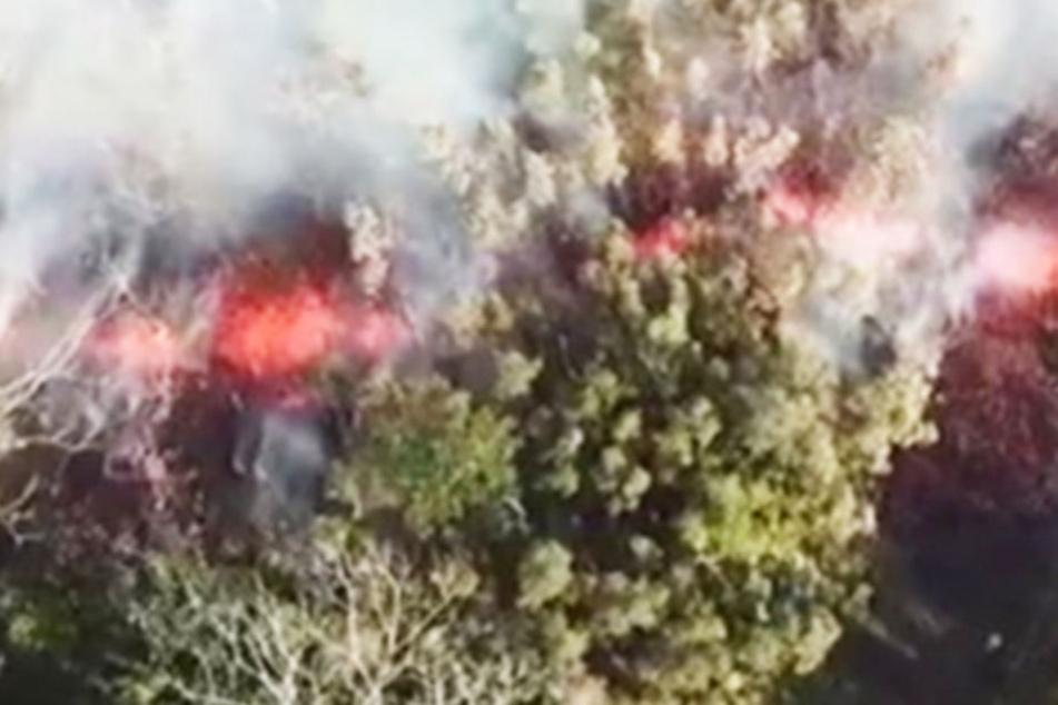 Die Lava spritzt sogar aus dem Boden! Angst im Urlaubsparadies nach Vulkanausbruch