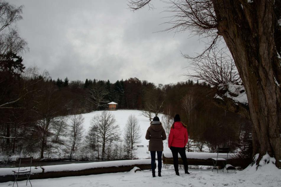 Zwei Spaziergängerinen schauen am 10.12.2017 in die verschneite Landschaft in Stuttgart.