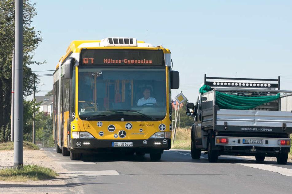 Der klimatisierte Test-Bus fährt meist auf der Linie 64  (Kaditz-Elbepark-Waldschlößchen-Reick).