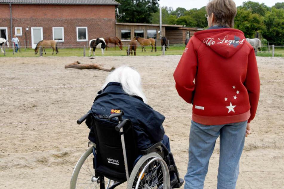 Ute Abraham erinnert sich mit Edzard Riek an die gemeinsame Zeit auf dem Pferdehof.