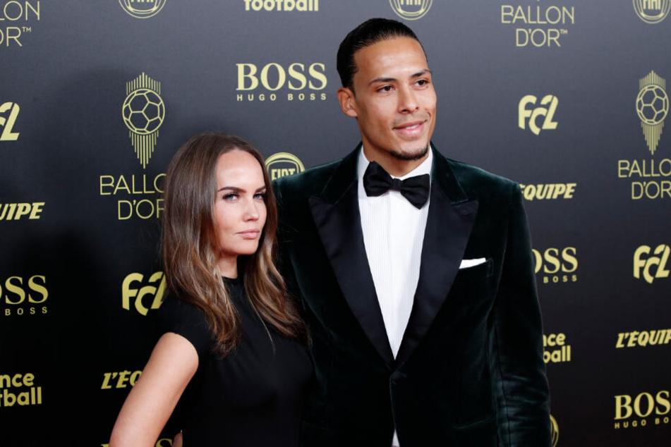 Liverpools Virgil van Dijk (28) und seine Frau Rike bei der Fußballer-Ehrung.