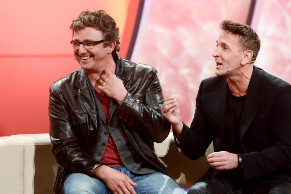 "Oktober 2018: ""Bergdoktor""-Hauptdarsteller Hans Sigl (links) und Mark Keller bei ""Verstehen Sie Spaß?""."
