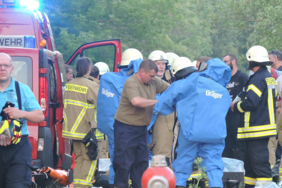 Chemie-Alarm nahe Leipzig: Hochprozentige Schwefelsäure ausgelaufen