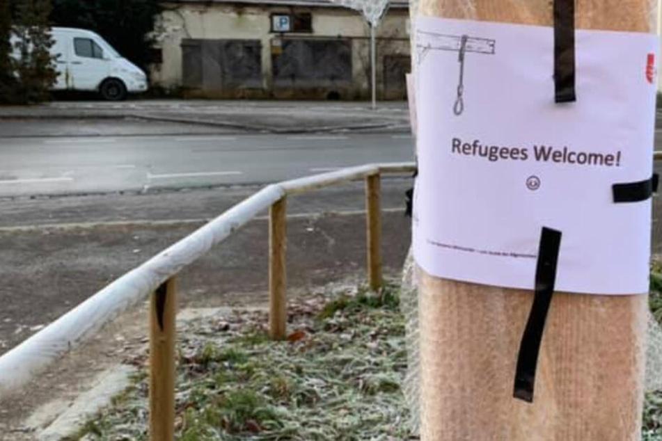"""""""Refugees welcome"""": Polizei sucht Urheber dieses Galgen-Zettels"""
