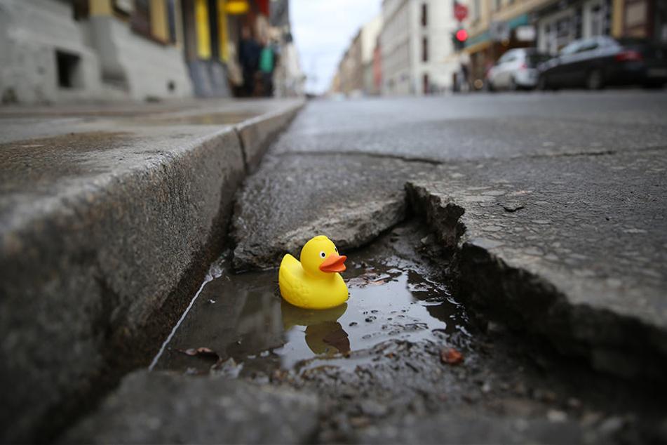 Badewanne für Gummigeflügel: Auf der Louisenstraße können sogar  Quietscheentchen in den Schlaglöchern  schwimmen.