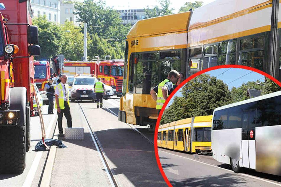 Schwerer Unfall auf der Bautzner Straße in Dresden: Bus rammt Straßenbahn