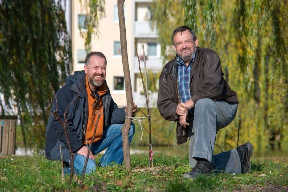 Thomas Bossack (47,l.) und Jürgen Marx (66) suchen Pflanzpaten.