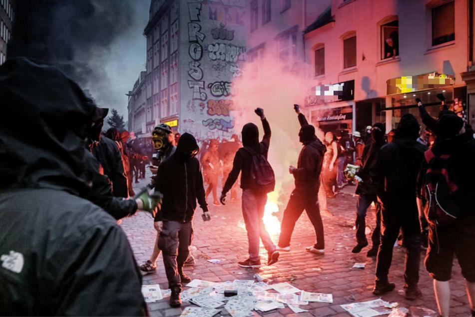 Vermummte randalierten anlässliche des G20-Gipfels in Hamburg.