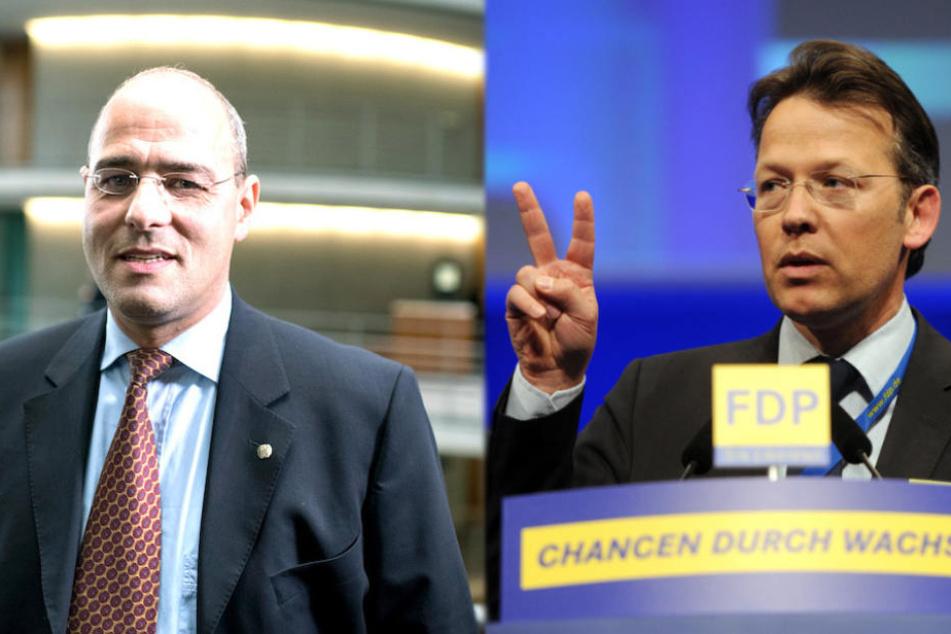 AfD-Mann Peter Boehringer (49, li.) und Otto Fricke (52, FDP) sind sich in der Kririk am Haushaltsentwurf einig. (Bildmontage)