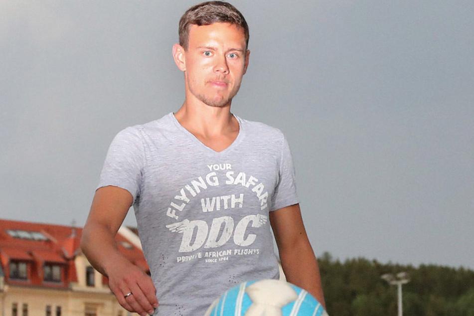 Auf dem Sportplatz von Wacker hat Chris Löwe 1996 erstmals mit dem Ball jongliert. 2002 wechselte er nach Chemnitz.