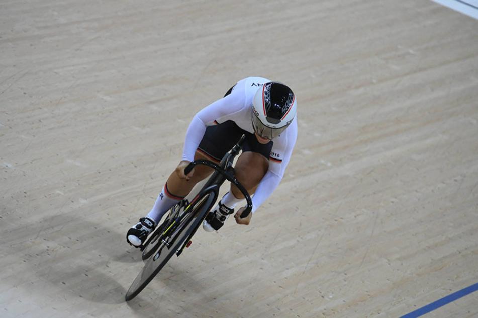 Kristina Vogel vom Erdgas Team Chemnitz holte am Dienstagabend Olampia-Gold im Sprint.