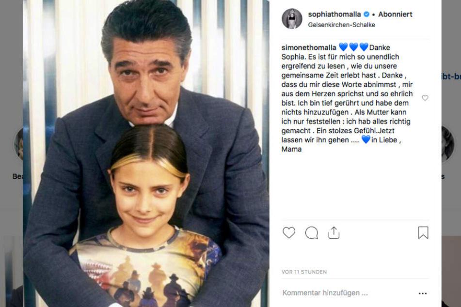 Mit diesem Foto trauert Sophia Thomalla auf Instagram. Auch Mama Simone hinterlässt rührende Worte.