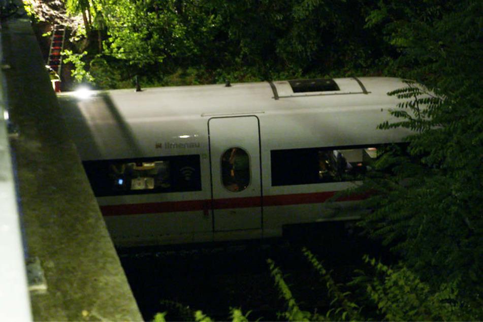 Durch den heftigen Sturm war ein Baum auf die Oberleitung gekracht und zwang den Zug zum Halt.
