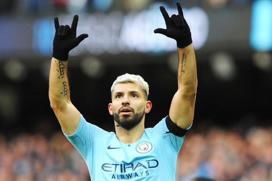 """Erzielte seine Liga-Saisontreffer 15-17: Sergio """"Kun"""" Agüero traf gleich drei Mal für Manchester City."""