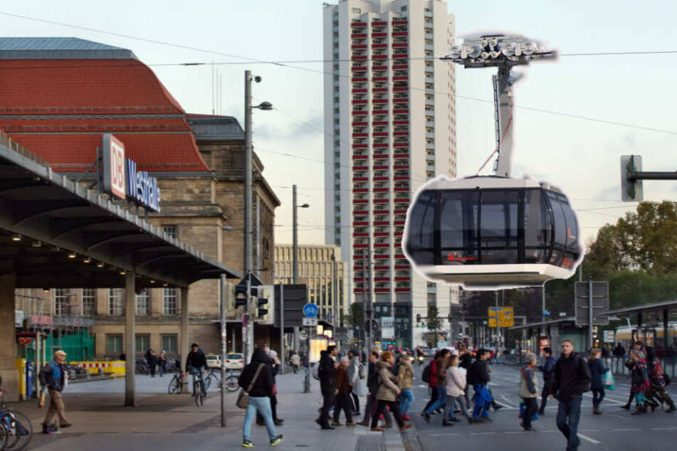 So könnte die Seilbahn aussehen, die durch Leipzig schwebt. (Bildmontage)