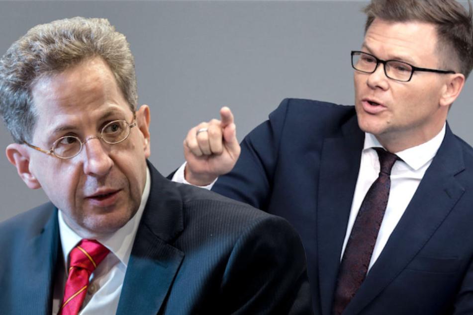 SPD-Mann Carsten Schneider (42, re.) findet deutliche Worte in Richtung Hans-Georg Maaßen (55). (Bildmontage)