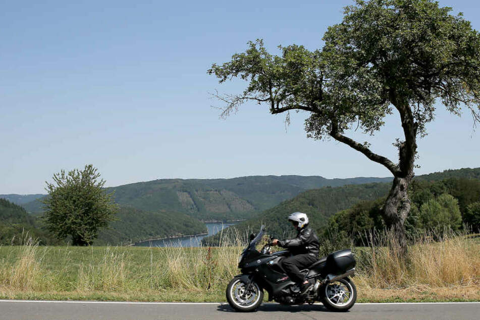 Ein Motorradfahrer fährt in der Nähe von Einruhr, oberhalb der Rurtalsperre durch eine Kurve.