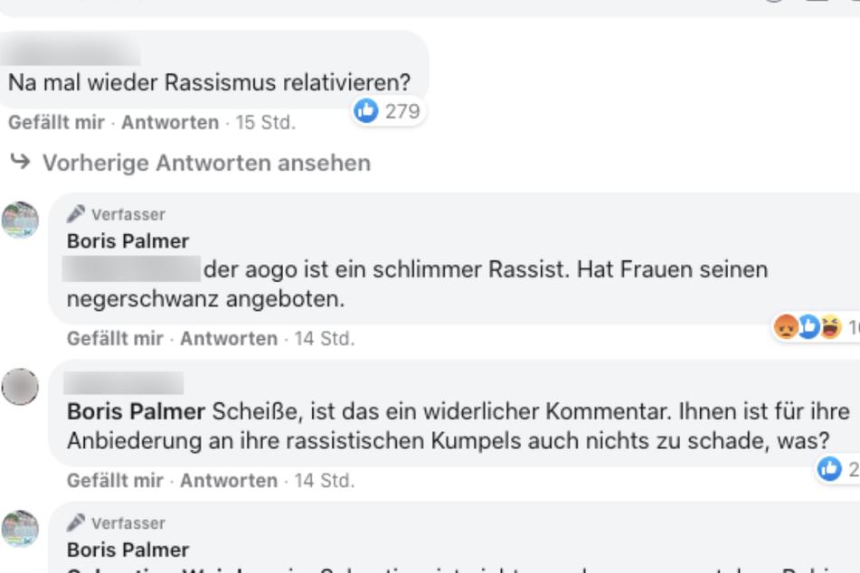 Screenshot der Facebook-Kommentare unter dem Post von Boris Palmer.