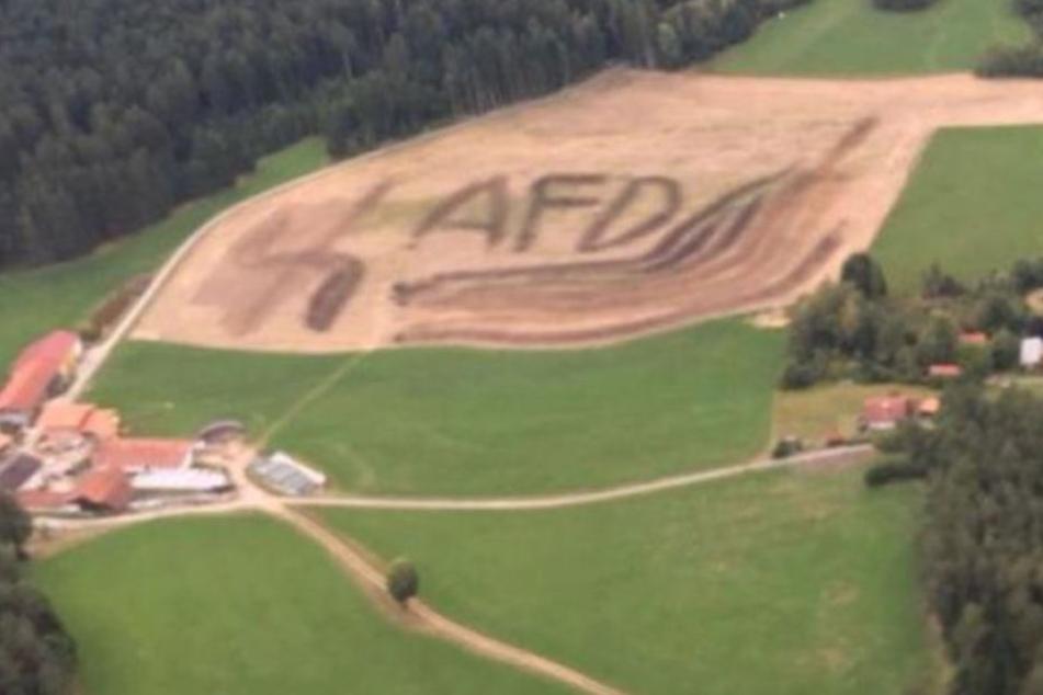 Riesiges Hakenkreuz und AfD-Schriftzug von Piloten auf Feld entdeckt