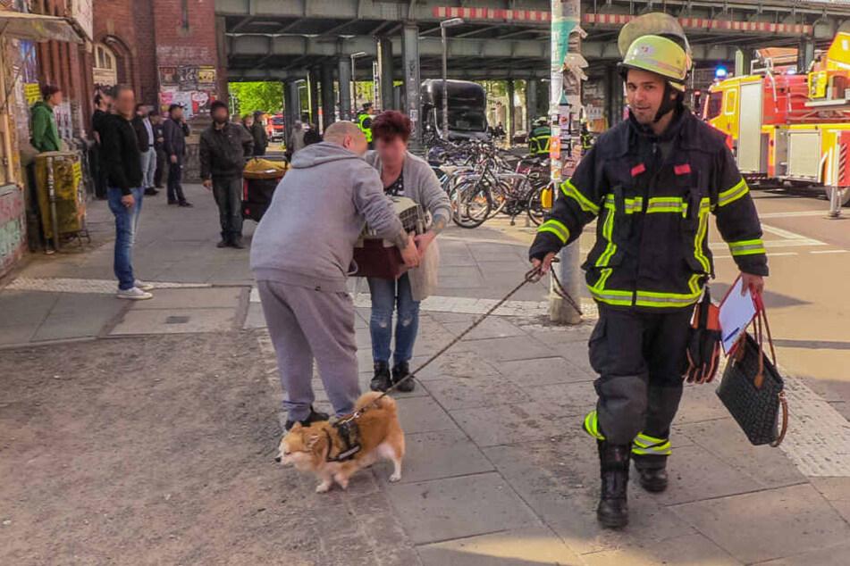 Nicht nur Menschen, auch Haustiere wurden von den Einsatzkräften vor dem Feuer gerettet.