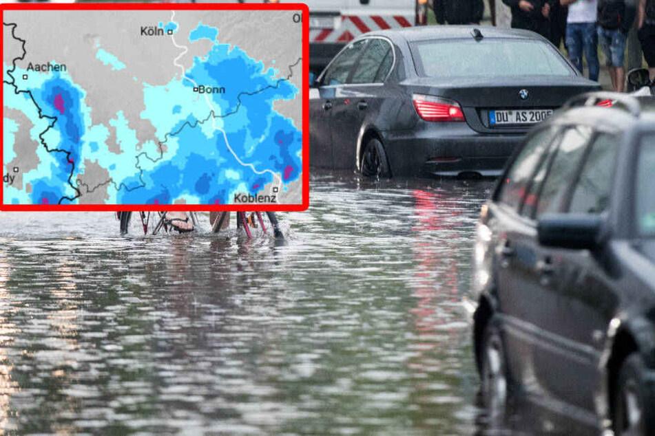 DWD rechnet mit überschwemmten Straßen und vollgelaufenen Kellern.