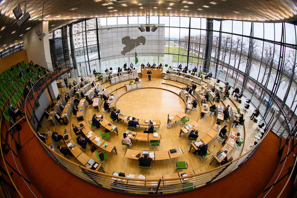 Blick in den Plenarsaal während der Sitzung des Sächsischen Landtages am Donnerstag.