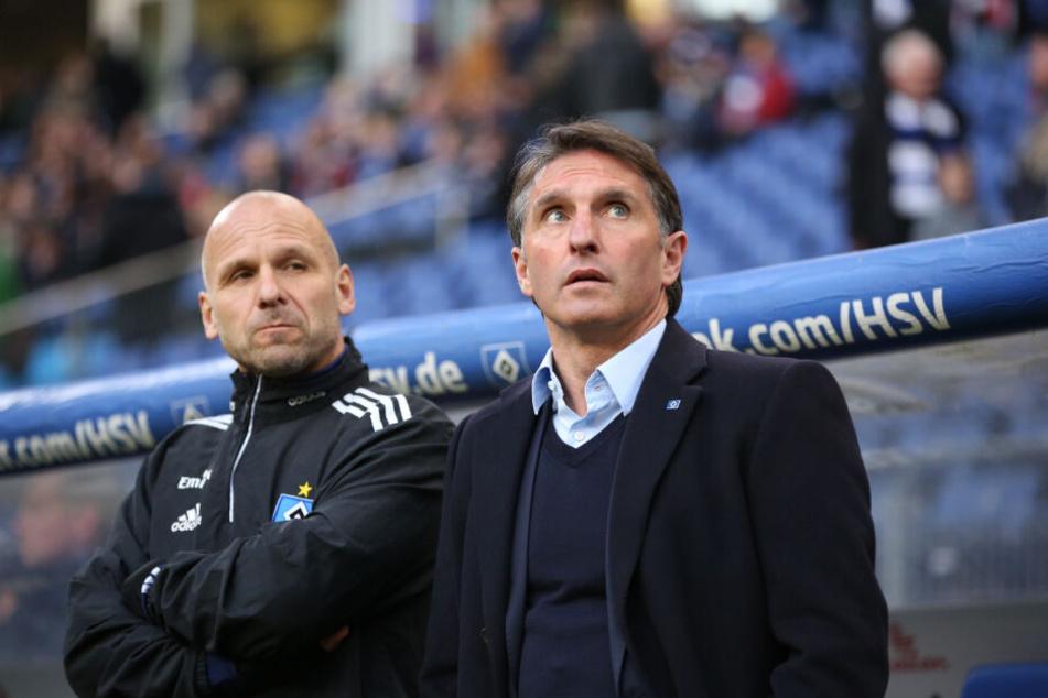 Der heutige Mannheim-Coach Bernhard Trares (links im Bild) und Bruno Labbadia arbeiteten in der Saison 2015/16 für den Hamburger SV und sind gute Freunde.