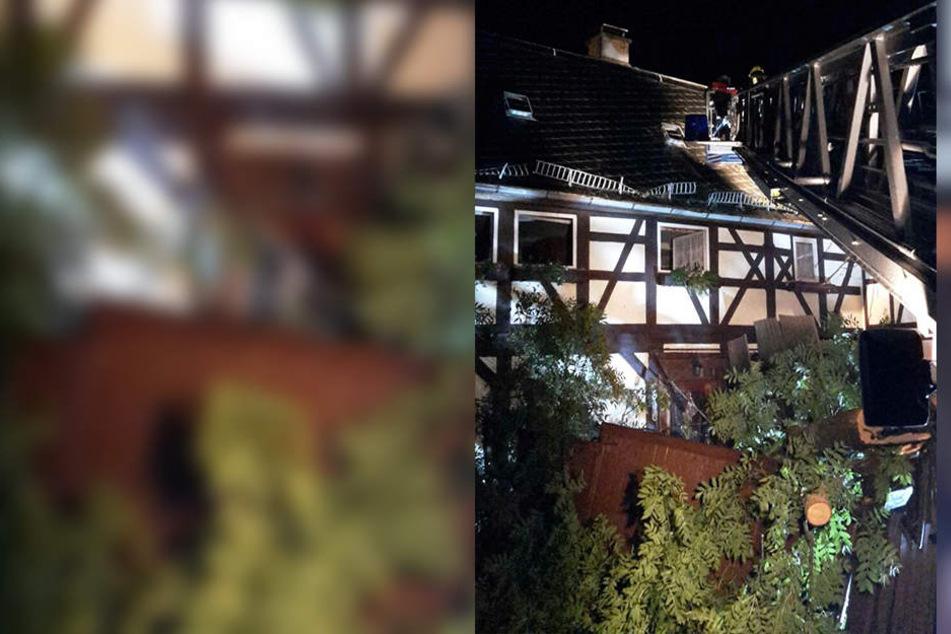 In Niederalbersdorf stürzte eine Esche auf ein Fachwerkhaus.