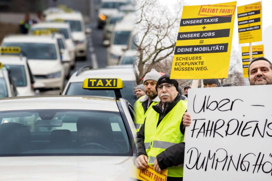 Im Autokorso: Heute protestieren Taxifahrer gegen die Billig-Konkurrenz