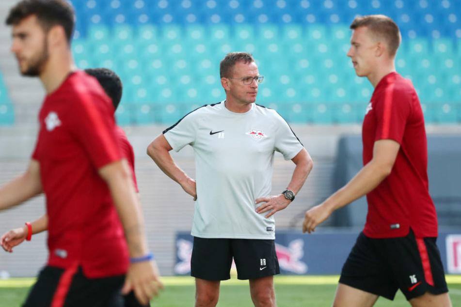 Ungläubiger Blick: Sicher hat sich auch Trainer Ralf Rangnick (M.) über die Ruhe im Stadion vor dem Spiel gegen BK Häcken gewundert.