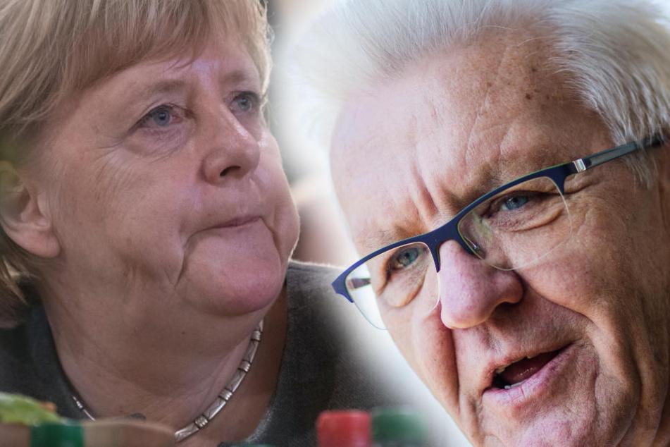 Winfried Kretschmann (Grüne) kritisiert Kanzlerin Merkel wegen Äußerung zum Diesel-Fahrverbot. (Fotomontage)