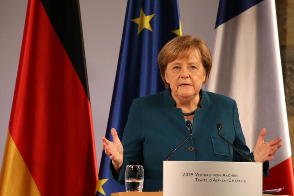 Angela Merkel bei ihrer Rede in Aachen.