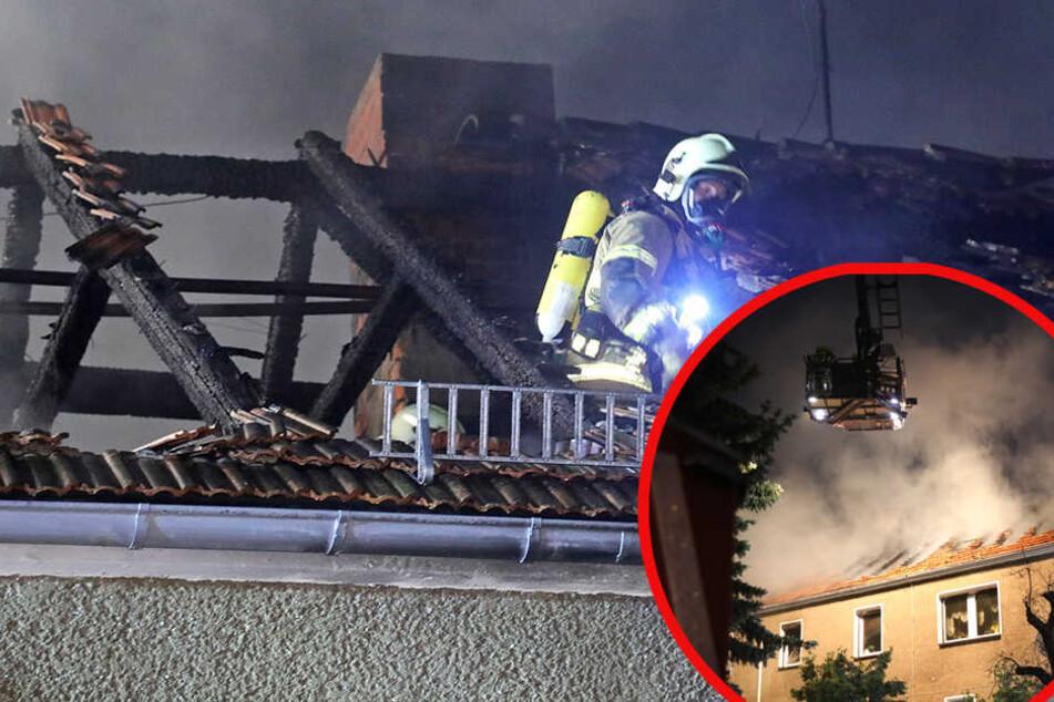 Dresden: Blitz schlägt ein! Dachstuhl in Weinböhla steht in Flammen