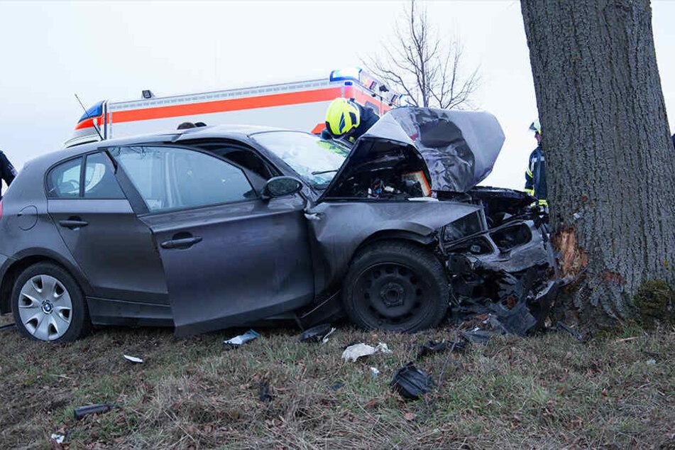 Der BMW war ungebremst frontal in den Baum geknallt.