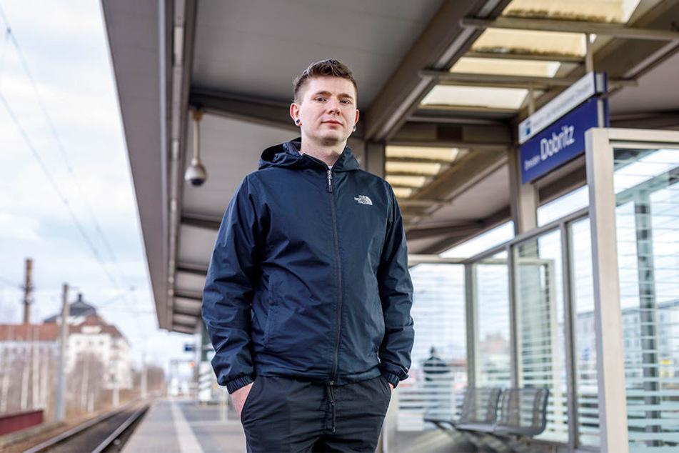 Tom P. (29) wurde direkt neben der Überwachungskamera am Haltepunkt Dobritz zusammengeschlagen.