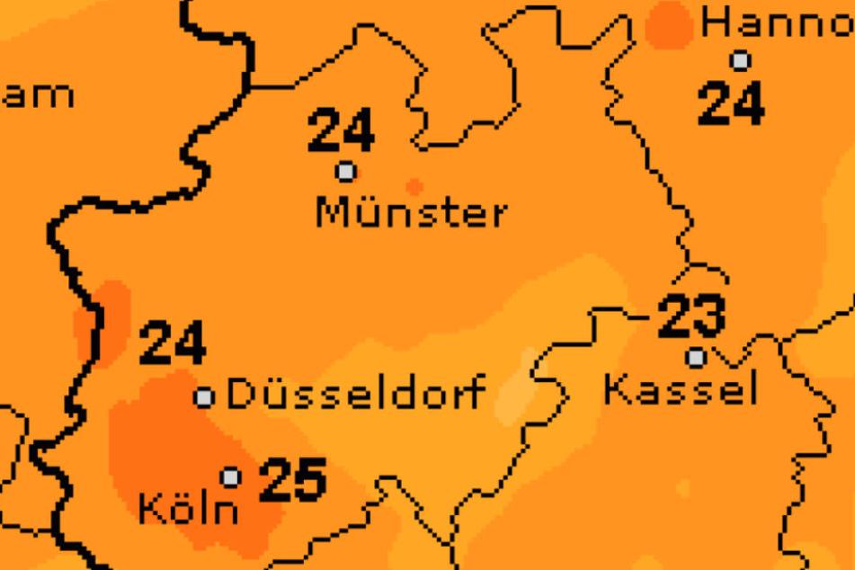 Am Freitag fallen die Temperaturen auf 24 Grad.