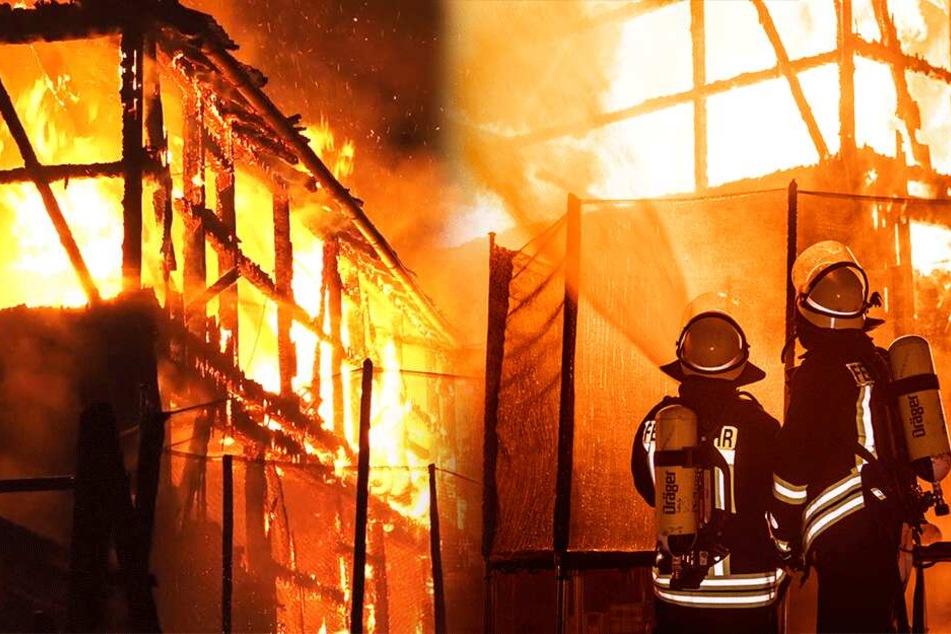 Gasflaschen explodieren bei Scheunenbrand: Menschen aus Wohnhäusern evakuiert