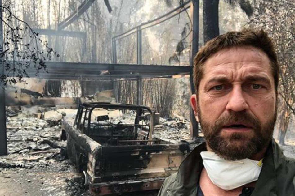 Die Flammen haben alles zerstört: Gerard Butler (48) hat sein Haus verloren.