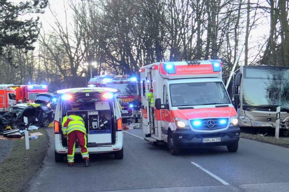 Der Busfahrer und eine weitere Person wurden leicht verletzt.