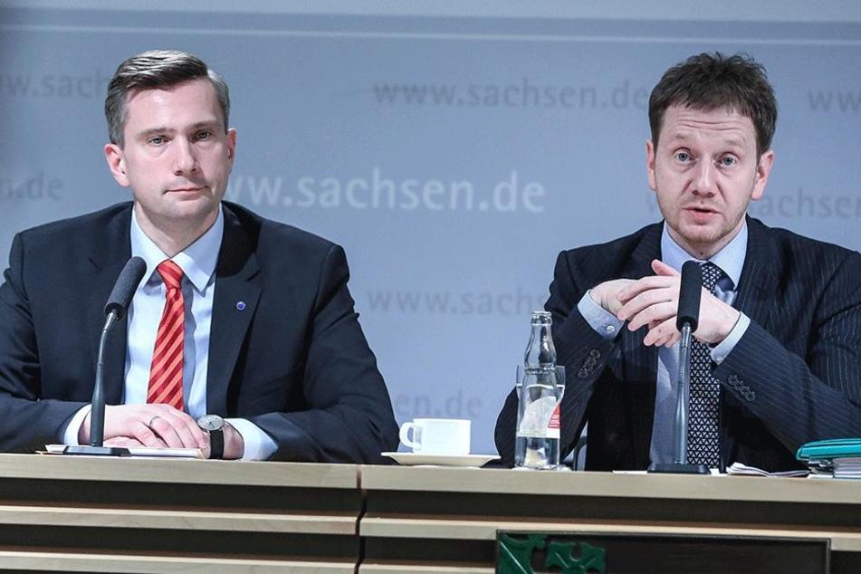 Regierungschef Michael Kretschmer (r., 42, CDU) und sein Vize Martin Dulig (43, SPD).