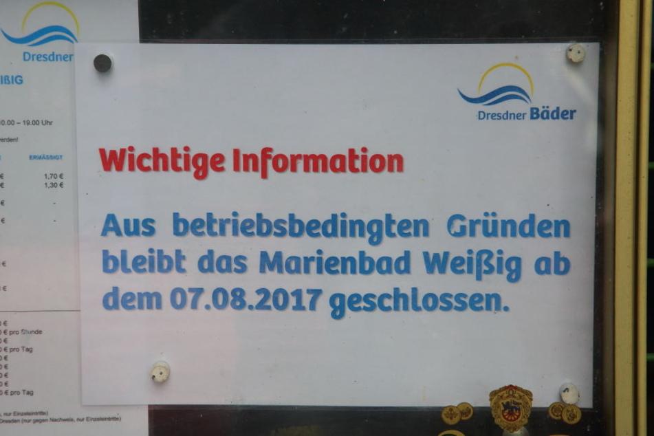 Das Marienbad muss wegen Wassermangel schließen.