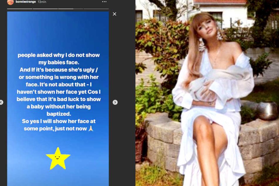 Vorerst möchte Bonnie Strange (32) das Gesicht ihrer Tochter Goldie Venus noch nicht mit der Welt teilen.