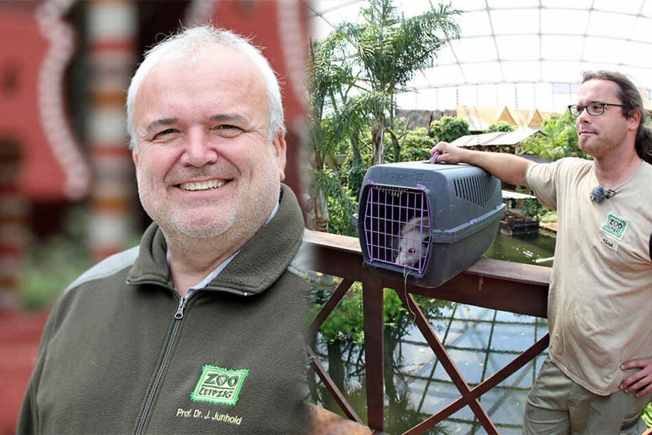 Leipzigs Zoodirektor Jörg Junhold (l.) und Pfleger Michael Ernst (r., mit dem schielenden Opossum Heidi) sind auch dabei.