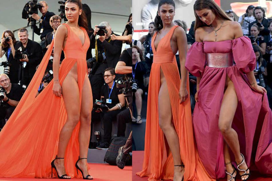 Waren die Topmodels Gulia Selemi (li.) und Dayane Mello wirklich unten ohne auf dem roten Teppich?
