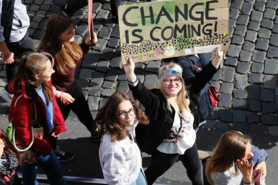 """Change is Coming"" - klare Message dieser Demonstrantin."