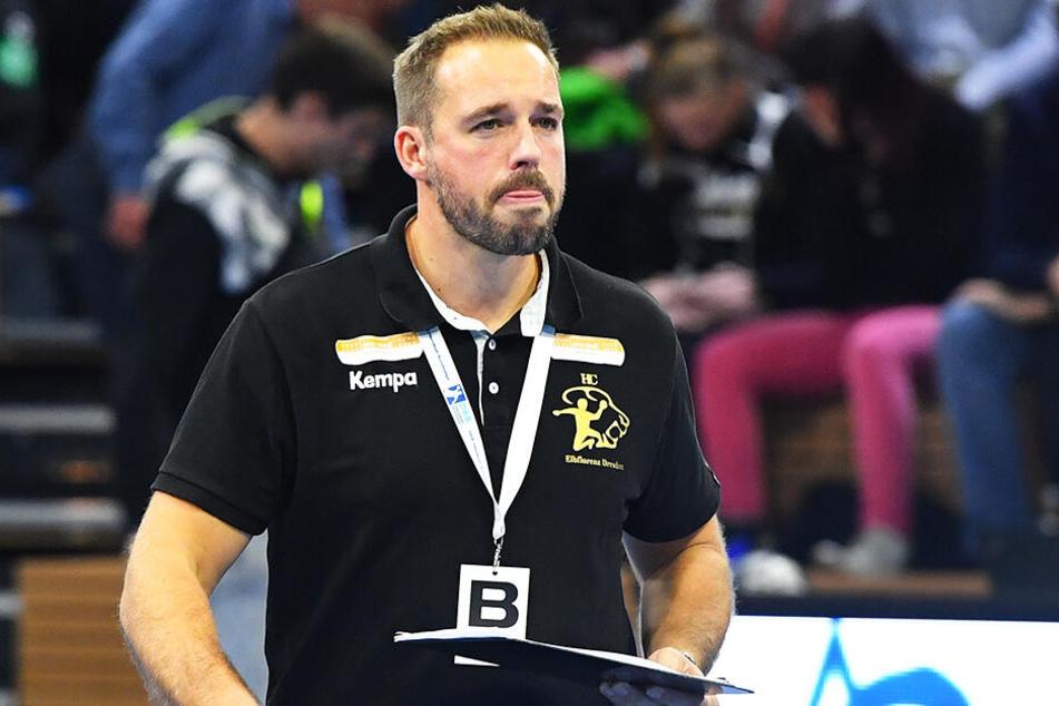 HCE-Coach Christian Pöhler durfte sich freuen: Erstmals in dieser Saison steht Elbflorenz nicht auf einem Abstiegsplatz.