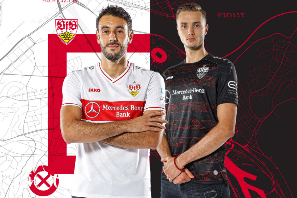 Hamadi Al Ghaddioui (links) und Sasa Kalajdzic mit den neuen Trikots.