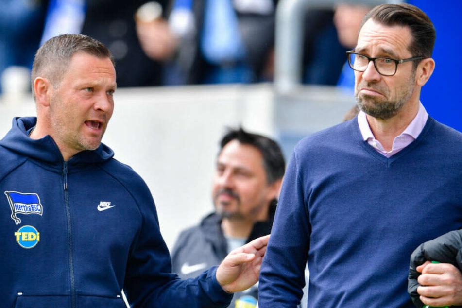 Pal Dardai und Michael Preetz nach dem Spiel in Hoffenheim.